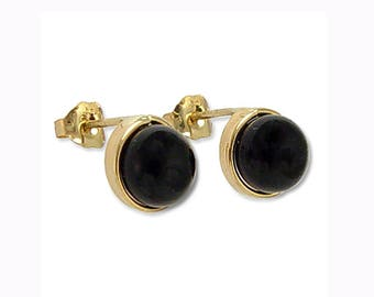 14k Gold Black Onyx Stud Earrings 6mm  E495