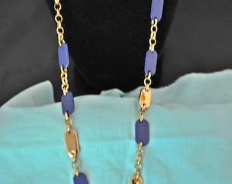 Liz & Co Chain Necklace, Gold Tone, Blue Necklace, Long Necklace, Liz Claiborne Necklace, Blue and Gold Necklace, Long Gold Chain, GS1092