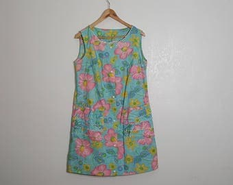 50s Large-Plus Size Cotton Dress / Bright 50s Dress / Hawaiian Dress 50s / Waist 40""