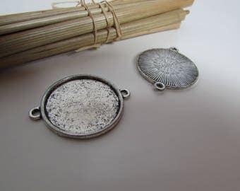 10 connector ring with 25 mm - 18mm antique silver - 2 mm hole