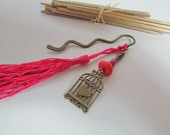 Book marker and heart cage metal bronze - fushia Pearl - tassel-113