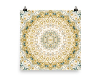 Square Wall Decor, Funky Wall Art, Mustard Yellow and Teal Mandala Art Poster Prints