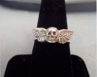 Sterling Silver Mini Winged Skull Ring