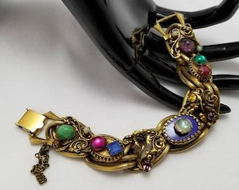 Ornate Jeweled Vintage Bracelet