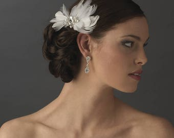 Elegant White Feather Hair Clip Adorn in Pearls Crystals & Rhinestones