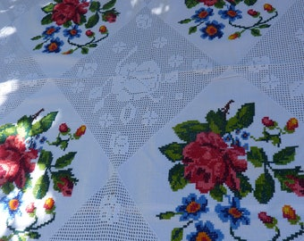Superior Large Tablecloth Cross Stitch Embroidered Lace Handmade Cotton XXL Hand  Made French Cross Stitch Embroidered Tablecloth