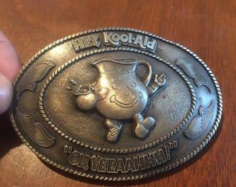 Vintage Kool Aid Buckle . Antique Kool Aid Buckle . Kool aid . Hey Kool Aid Oh Yeeaahhh belt buckle