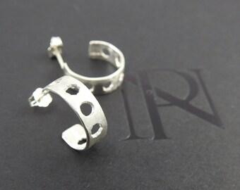 Rustic earrings Small hoop earrings Silver earrings Modern earrings Natural jewelry Minimalist earring Spring gift Stud earrings