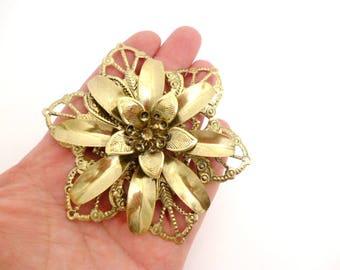 "Large Brass Flower Metal Ornaments_X00215487/62147_Metal Flowers Hat Clutch making of 90 mm / 3,54"" _ pack 1 pcs"