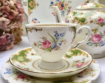 All Things Bright & Beautiful Royal Tuscan 'Windsor' Teacup, Saucer, Plate, Perfect
