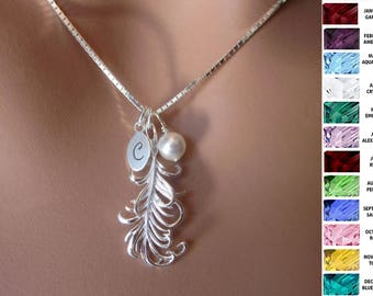 Sterling Silver Feather Necklace Pendant Personalized Womens Birthstone Jewelry Bridal Party Gift