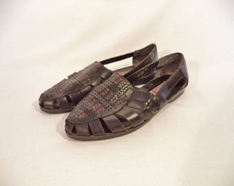 90s woven Huaraches// Vintage Bayberry// Black leather bohemian Mexican sandals// Women's size 8 USA