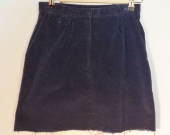 Corduroy cut fringe mini skirt// Vintage high waist blue ribbed cotton 80s Clay Brook// Women's size 4 USA S small 26W