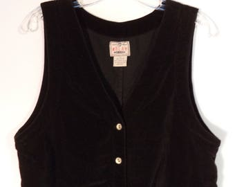 90s black velvet jumper dress// Overall minimalist mid length cotton goth// Vintage RELAY// Womens medium M