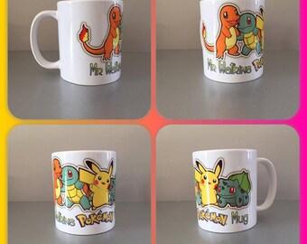 pokemon ash pikachu squirtle japan nintendo personalised mug cup any name gift go present group