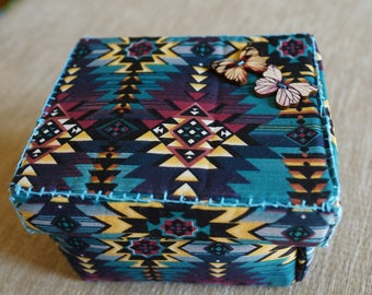 One of a kind blue Aztec sewing box gift set