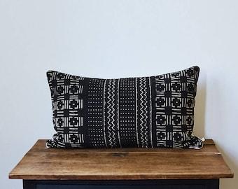 """Vintage African Mud Cloth lumbar pillow 16"""" x 26"""""""