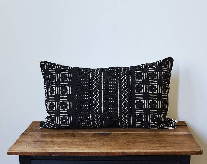"Vintage African Mud Cloth lumbar pillow 16"" x 26"""