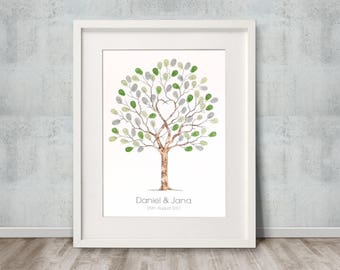 "A3 size Fingerprint Tree, Guest Book  ""Unity Tree"" -  Watercolour + 2 ink pads incl. Personalised with names and dates. FREE delivery Aust."