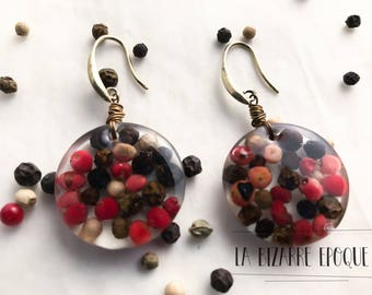 Earrings with peppercorns and resin-bucolic jewels for original and eclectic women-lovers of the kitchen and spices-made in Italy