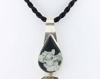 Chinese Writing Necklace, Druzy Bezel Set in Sterling Silver, Black Silk Cord