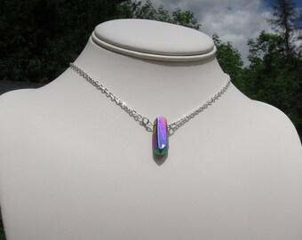 Rainbow Titanium Necklace, Aura Titanium Necklace, Quartz Necklace, Quartz Point Pendant, Layering Necklace, Nature Jewelry, Rainbow Quartz