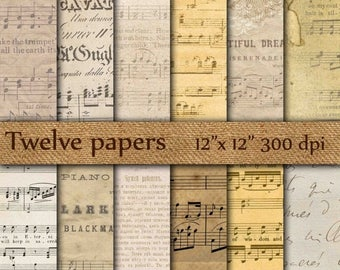 """40% OFF Old music papers: """"VINTAGE MUSIC Sheets"""" old sheet music papers , old parchment papers , antique music digital papers , musical  not"""