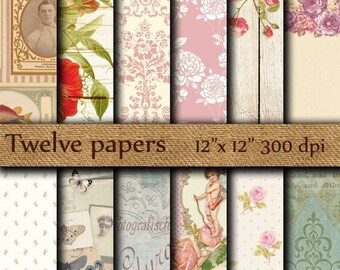 "40% OFF Vintage digital paper: ""DIGITAL EPHEMERA""  wrapping papers , distressed paper , floral wood paper , antique paper , floral paper"