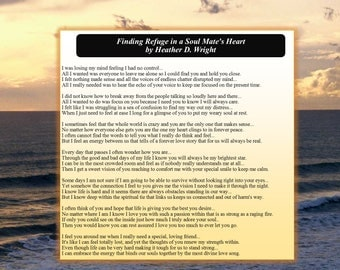 Finding Refuge in a Soul Mate's Heart - Printable Poetry Instant Download