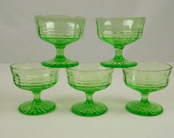 Green Vaseline Depression Glass Ribbed Dessert Cups Set of 5 Sherbet Parfait Bowl Footed 3 Inches Tall Holiday Easter Spring Summer Decor