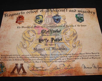 Digital File - Hogwarts Degree/diploma (Read description!)