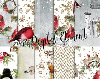Digital Paper, Christmas Paper, Red Cardinal Paper, Christmas Scrapbook Paper, Holiday Scrapbook Background Paper. No. CHP205