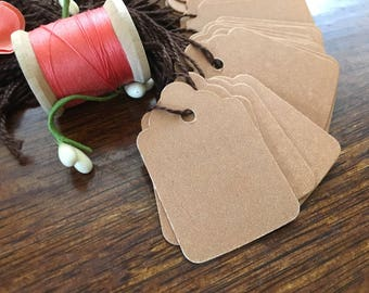 """50 Small Kraft Gift Tag - 1 1/4""""x 1 7/8"""" - Brown Gift Tag with Cord - Craft Gift Tag - Resale Gift Tags - NWSRGTKS"""