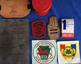 BOY SCOUTS of AMERICA vintage collectible lot of eight miscellaneous items circa 1960's