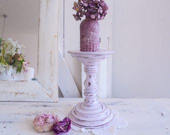 Flower table candle holder Shabby Chic pink candle holder flower stool