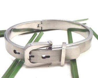 Bracelet design stainless steel matte 8mm with clasp belt