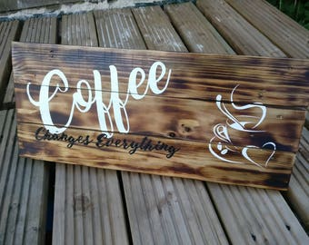"Rustic ""Coffee Changes Everything"" Artwork Wall Decor Sign"