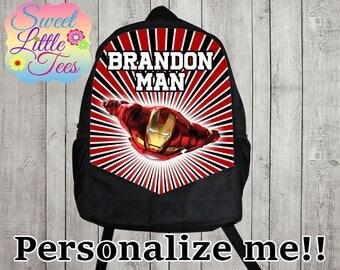 Personalized Ironman backpack/blaze shirt backpack/boys backpack/personalized boys backpack/ black backpack/B114
