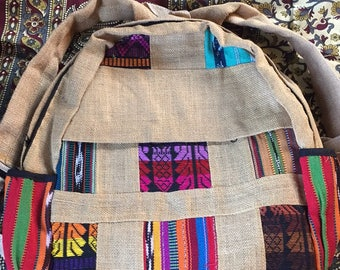jute backpack with patches