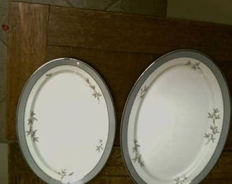 Syracuse China, Harmony, Set of 2  Oval Platters Made In America, Mid Century