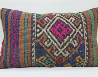 12X20pink kilim pillow cover, 12x20 - 30x50 kelim cushion cover home decor boho pillow sofa pillow cover pouf lumbar pillow   741