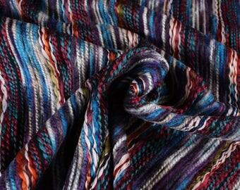 1 mètre de tissu rayé multicolore, effet laine, 3 couleurs disponibles (Cuzco)