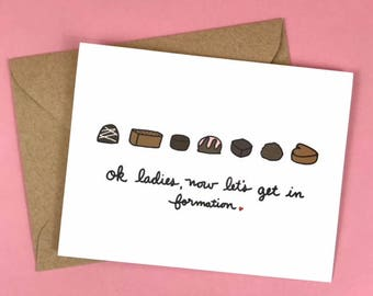 Pack of 8 - Chocolate Formation Galentine's Day Card