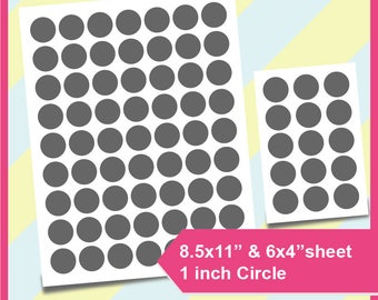 "Instant Download, 1"" circle Template, 1 inch circle template PSD, PNG, SVG, Dxf Formats, 6""x4"" and  8.5x11"" sheet,   Printable 062"