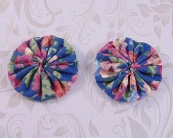 x 2 40mm fabric flowers lot22 fabric yoyos