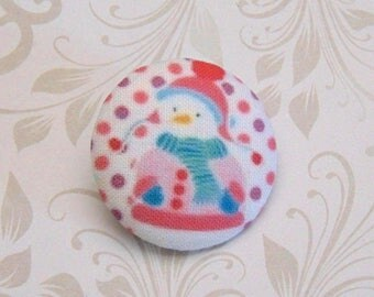 x 1 button 22mm fabric snowman snow pea pink ref A27