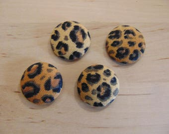 x 4 cabochons 20mm fabric ref TOUR1 leopard fabric