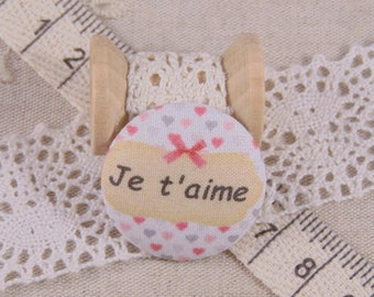 x 1 28mm fabric button I love you more A17