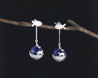 Sterling silver earings, lapis earings, cat earing, fish earings, a cat's dream