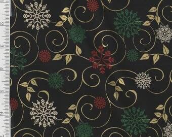 Ornamental Splendor - Per Yd - Benartex -  Snowflakes and Swirling Gold Metallic Hi-lights on Black